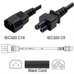 C14 Male to C5 Female 0.6 Meter 2.5 Amp 250 Volt 18/3 SJT Black Power Cord