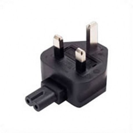 U.K. BS 1363 Male Plug Angled Down to C7 Female Connector 3 Amp