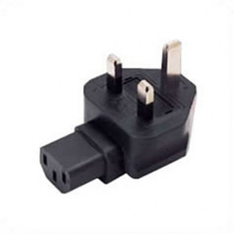 U.K. BS 1363 Male Plug to IEC 60320 C13 Female Connector Angled