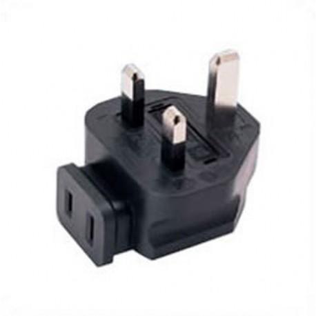 U.K. BS 1363 Male Plug Angled Down to North America NEMA 1-15