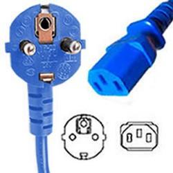 Blue Power Cord Schuko CEE 7/7 Down Male to C13 Female 2.5
