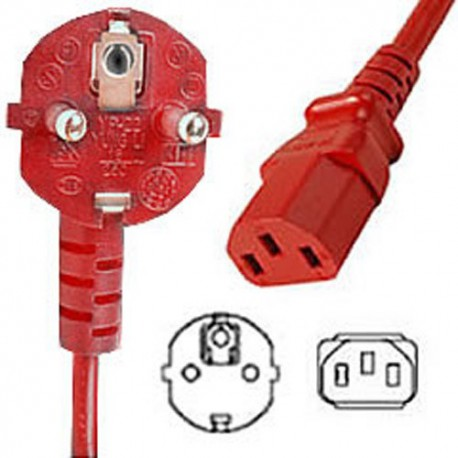Red Power Cord Schuko CEE 7/7 Down Male to C13 Female 2.5