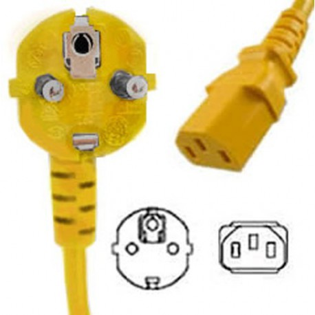 Yellow Power Cord Schuko CEE 7/7 Down Male to C13 Female 2.5