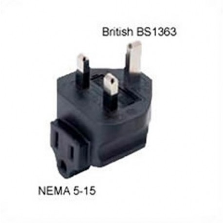 U.K. BS 1363 Male Plug to NEMA 5-15 Female Connector Angled