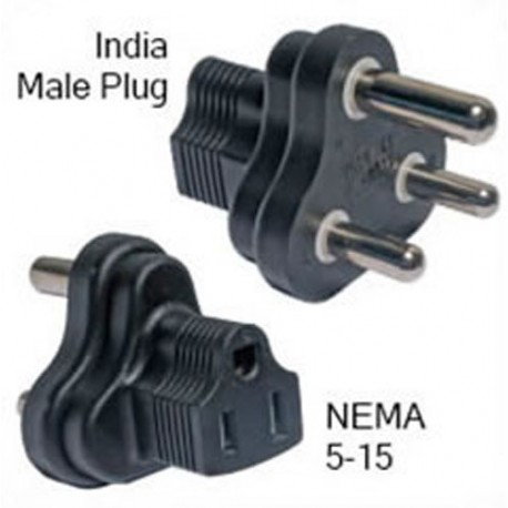 India IS 1293 (BS 546) Male Plug to NEMA 5-15 Female Connector