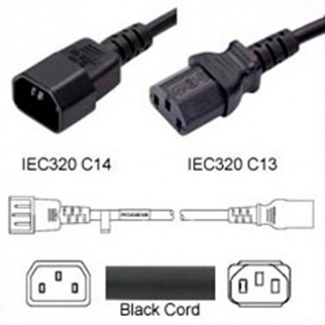 C14 Male to C13 Female 0.5 Meter 15 Amp 250 Volt 14/3 SJT Black