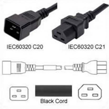 C20 Male to C21 Female 1.8 Meter 20 Amp 250 Volt 12/3 SJT Black