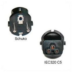 Schuko CEE 7/7 Male Plug to C5 Female Connector 2.5 Amp 250