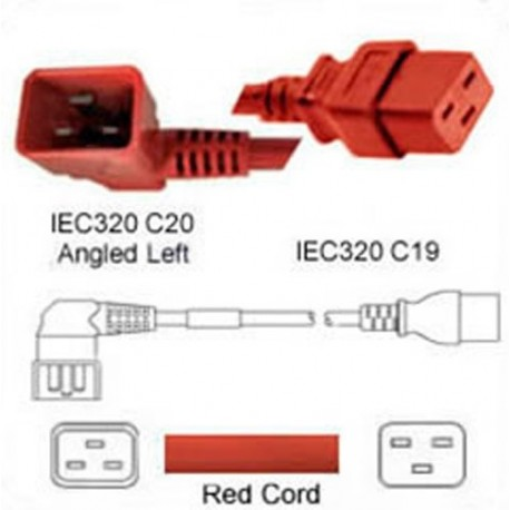 Red Power Cord C20 Left Male to C19 Female 1.8 Meters 20 Amp