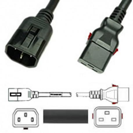 W-Lock C14 Male to C19 Female 0.6 Meter 15 Amp 250 Volt 14/3