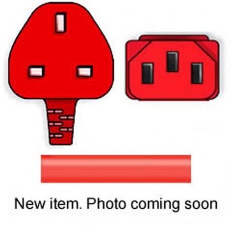 Red Power Cord U.K. BS 1363 Down Male to C13 Female 2.5 Meters