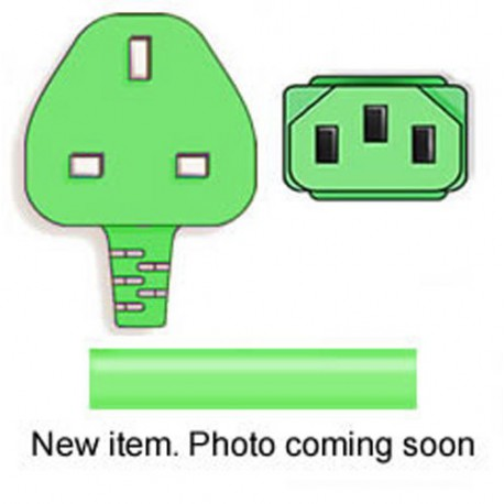 Green Power Cord U.K. BS 1363 Down Male to C13 Female 2.5
