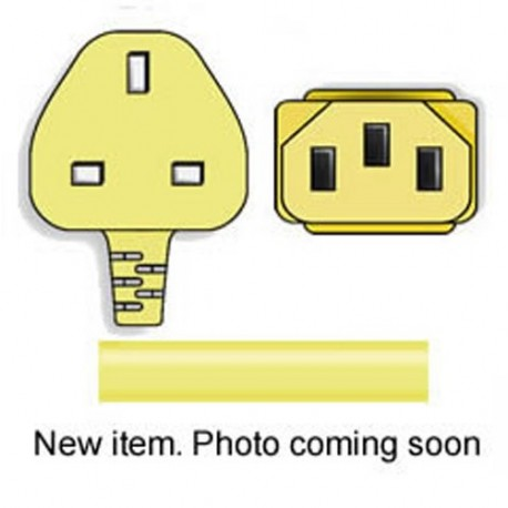 Yellow Power Cord U.K. BS 1363 Down Male to C13 Female 2.5