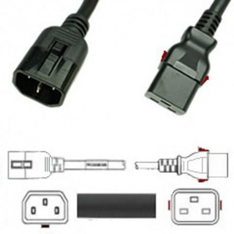 W-Lock C14 Male to C19 Female 1.5 Meter 15 Amp 250 Volt 14/3