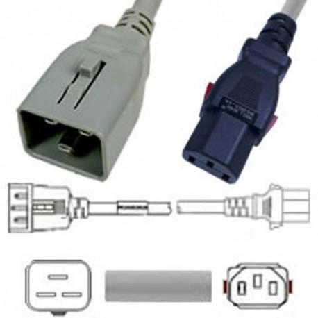 W-Lock C20 Male to C13 Female 1.8 Meter 10 Amp 250 Volt H05VV-F