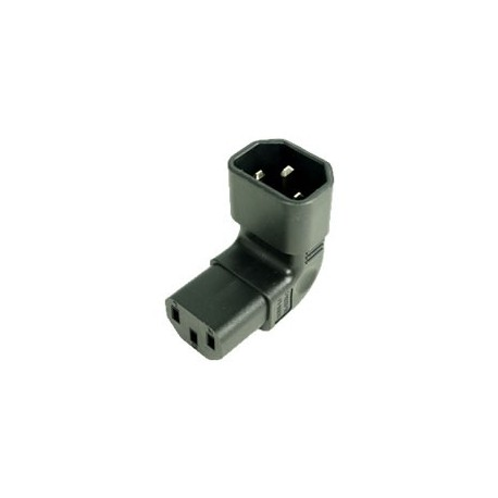 IEC 60320 C14 Plug Down Angle to IEC 60320 C13 Connector Block