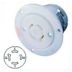 Hubbell HBL2416 NEMA L14-20 Flanged Female Outlet - White