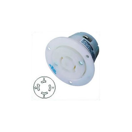 Hubbell HBL2426 NEMA L15-20 Flanged Female Outlet - White