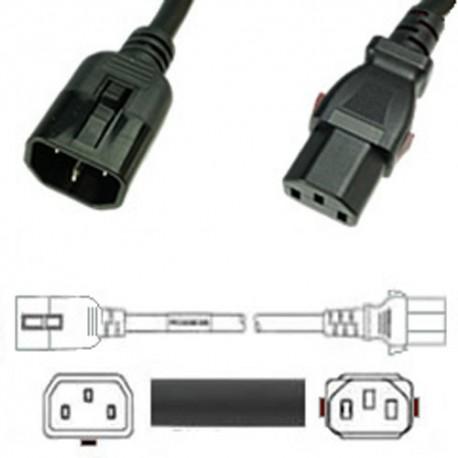 W-Lock C14 Male to C13 Female 1.2 Meter 10 Amp 250 Volt H05VV-F