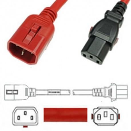 W-Lock C14 Male to C13 Female 0.5 Meter 10 Amp 250 Volt H05VV-F