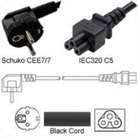Schuko CEE 7/7 Down Male to C5 Female 1.8 Meters 2.5 Amp 250