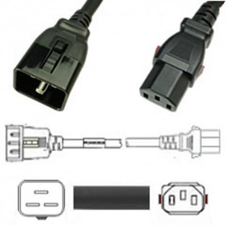 W-Lock C20 Male to C13 Female 3.0 Meter 10 Amp 250 Volt H05VV-F
