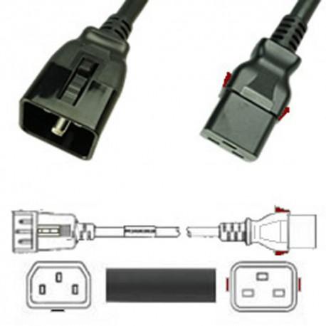 W-Lock C20 Male to C19 Female 1.0 Meter 16 Amp 250 Volt H05VV-F