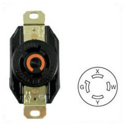 Hubbell HBL2410 NEMA L14-20 Female Receptacle - 20 Amp, 125/250