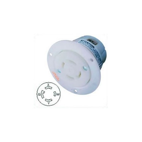 Hubbell HBL2716 NEMA L14-30 Flanged Female Outlet - White