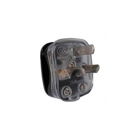 China GB 2099 10 Amp 250 Volt Black/Clear Down Angle Entry Male