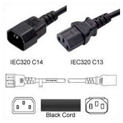 C14 Male to C13 Female 1.0 Meter 10 Amp 250 Volt H05VV-F 3x1.0