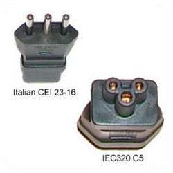 Italy CEI 23-16 Male Plug to C5 Female Connector 2.5 Amp 250