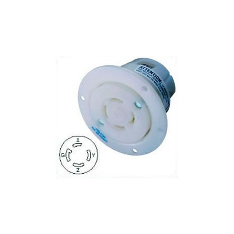 Hubbell HBL2726 NEMA L15-30 Flanged Female Outlet - White