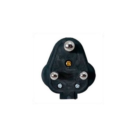 India BS546 15 Amp 250 Volt Black Down Angle Entry Male Plug
