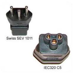Switzerland SEV 1011 Male Plug to C5 Female Connector 2.5 Amp
