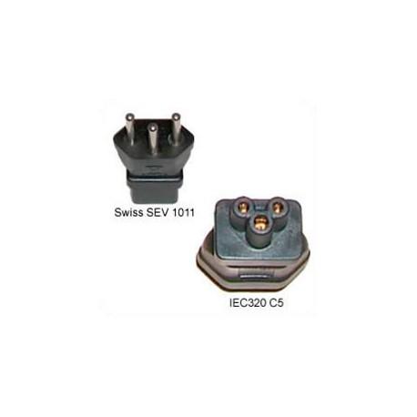 Switzerland SEV 1011 Male Plug to C5 Female Connector 2.5 Amp