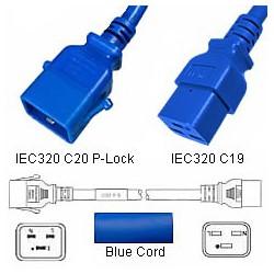 P-Lock C20 Male to C19 Female 1.0 Meter 16 Amp 250 Volt H05VV-F