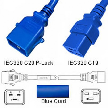 P-Lock C20 Male to C19 Female 1.8 Meter 16 Amp 250 Volt H05VV-F