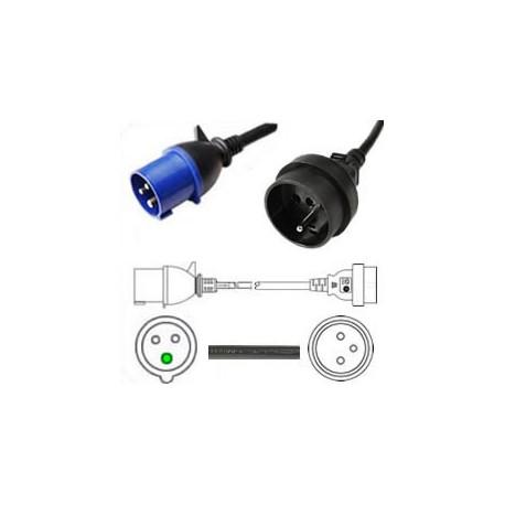 IEC 60309 316P6 Plug to Schuko CEE 7/5 Female 0.3 Meter Plug