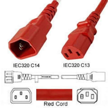 Red Power Cord C14 Male to C13 Female 1.5 Meter 10 Amp 250 Volt