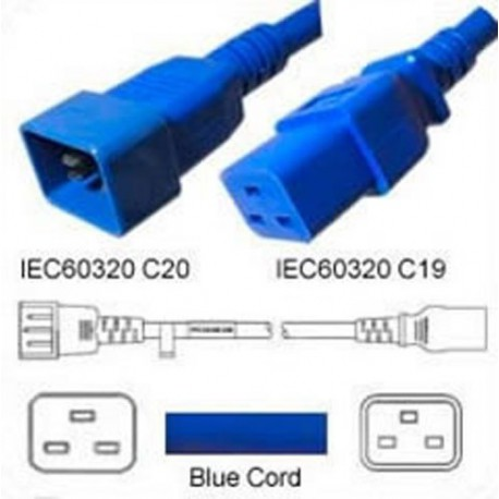 Blue Power Cord C20 Male to C19 Female 2.5m ~8' 16 Amp 250 Volt