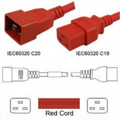 Red Power Cord C20 Male to C19 Female 3.0m ~10' 16 Amp 250 Volt