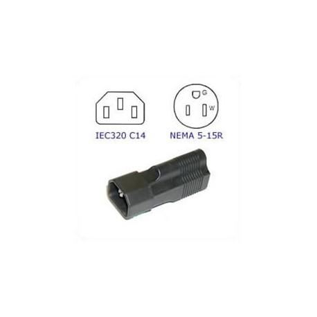 C14 Plug to North America NEMA 5-15 Connector Block Adapter -