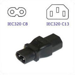 C8 Plug to C13 Connector Block Adapter - Black