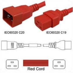 Red Power Cord C20 Male to C19 Female 0.9 Meter 16 Amp 250 Volt