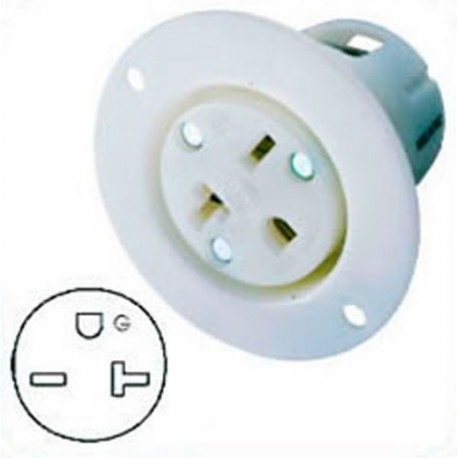 Hubbell HBL5479C NEMA 6-20 Flanged Female Outlet - White