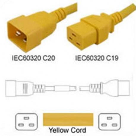 Yellow Power Cord C20 Male to C19 Female 0.6 Meter 16 Amp 250