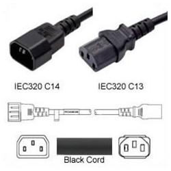 C14 Male to C13 Female 0.3 Meter 10 Amp 250 Volt 18/3 SJT Black