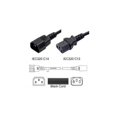 C14 Male to C13 Female 0.3 Meter 10 Amp 250 Volt 18/3 SJT Black