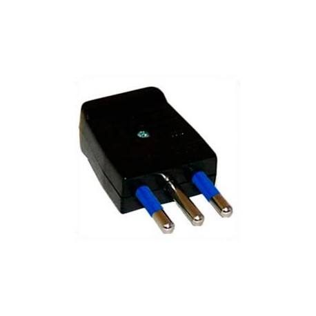 Italy CEI 23-16 10 Amp 250 Volt Black Straight Entry Male Plug